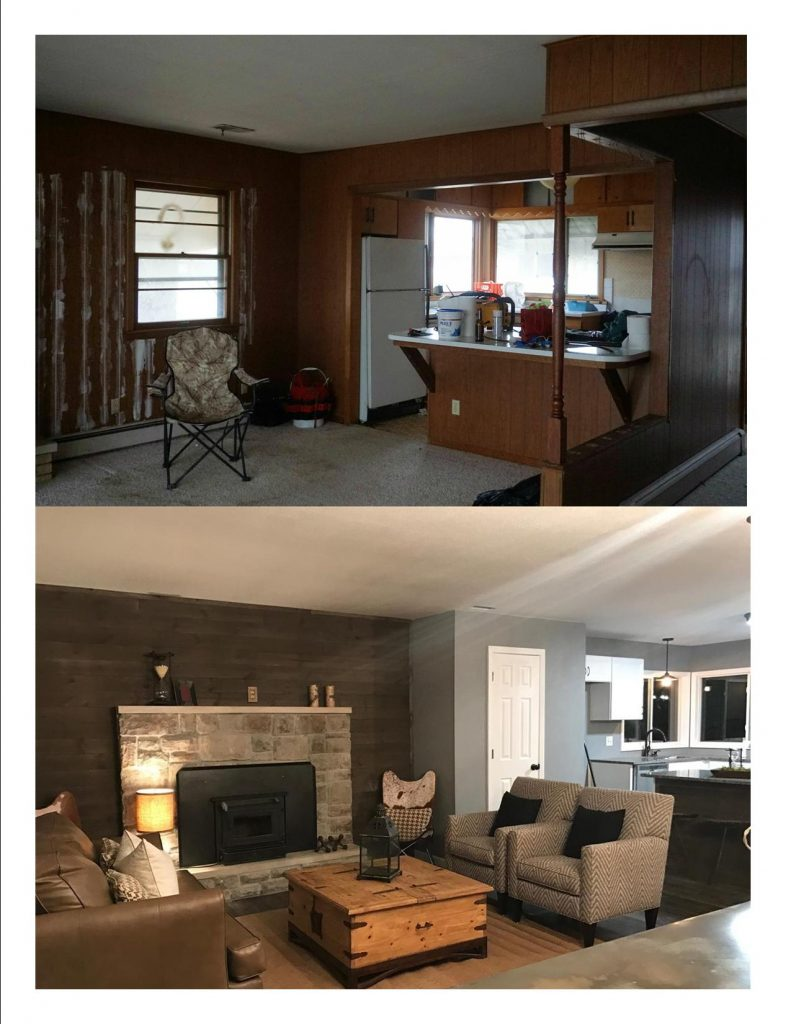 New Living Room and Fireplace Comparison Additions and Remodeling in Kansas