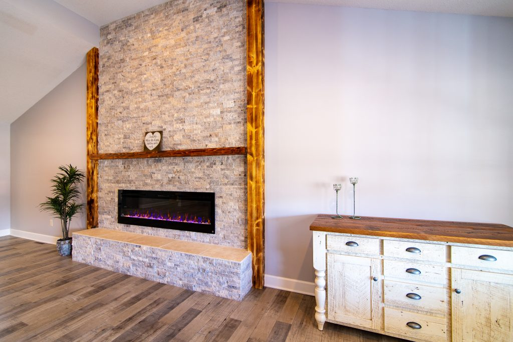 New Gas Fireplace in Living Room Additions and Remodeling in Kansas