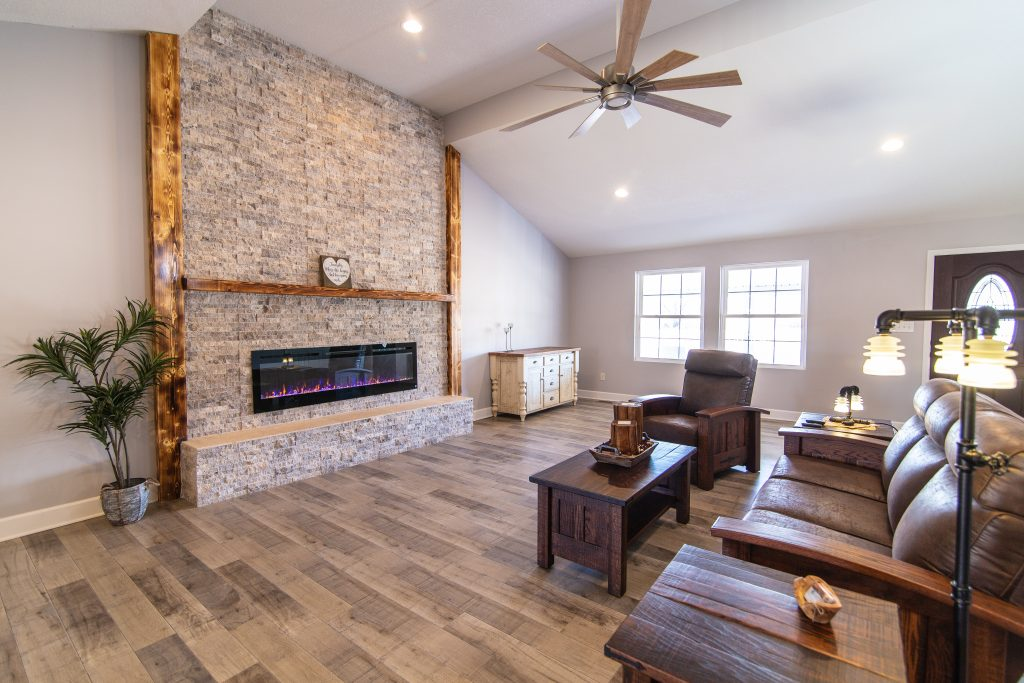 New Living Room Floor and Fireplace Additions and Remodeling in Kansas